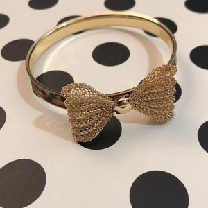 Leopard and Gold Bangle Bracelet with Bow